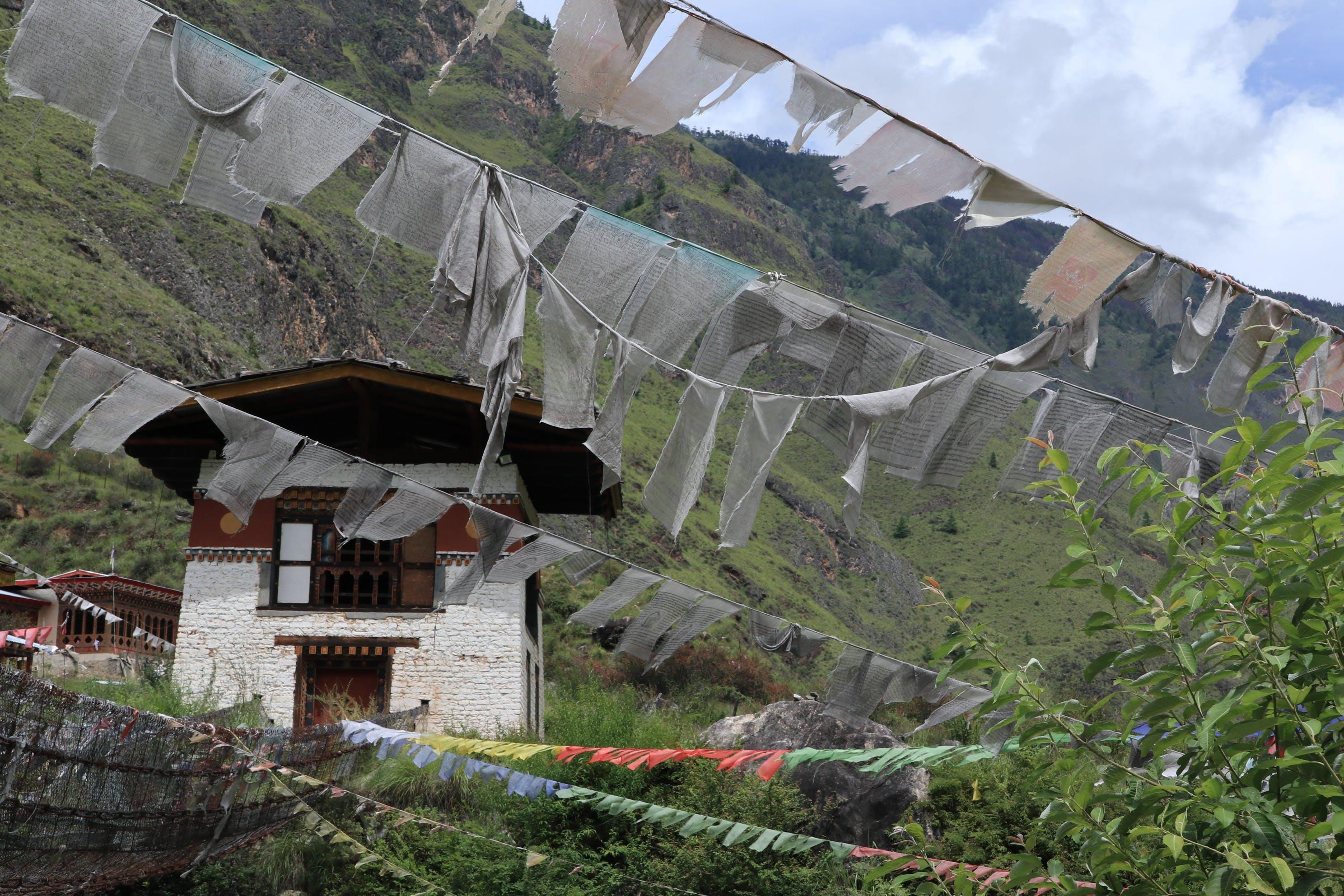 Free stock photo of Bhutan, buddhist temple, flag, flags