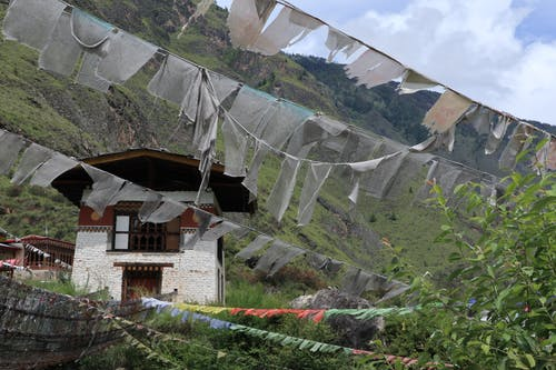 Free stock photo of bhutan, buddhist temple, flags
