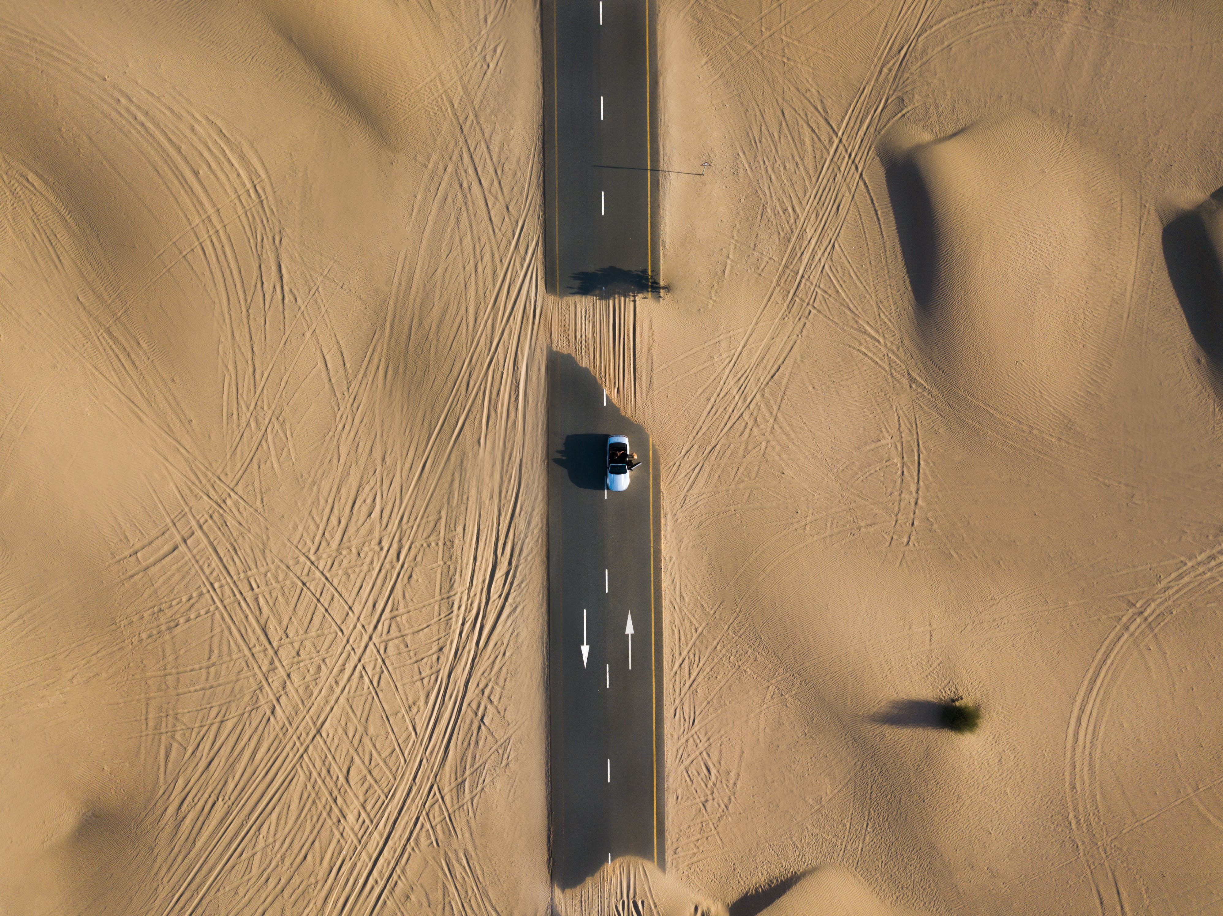 Bird's Eye Photography of Road in Middle of Dessert
