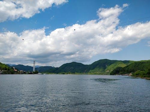 山, 山湖, 海, 空の無料の写真素材