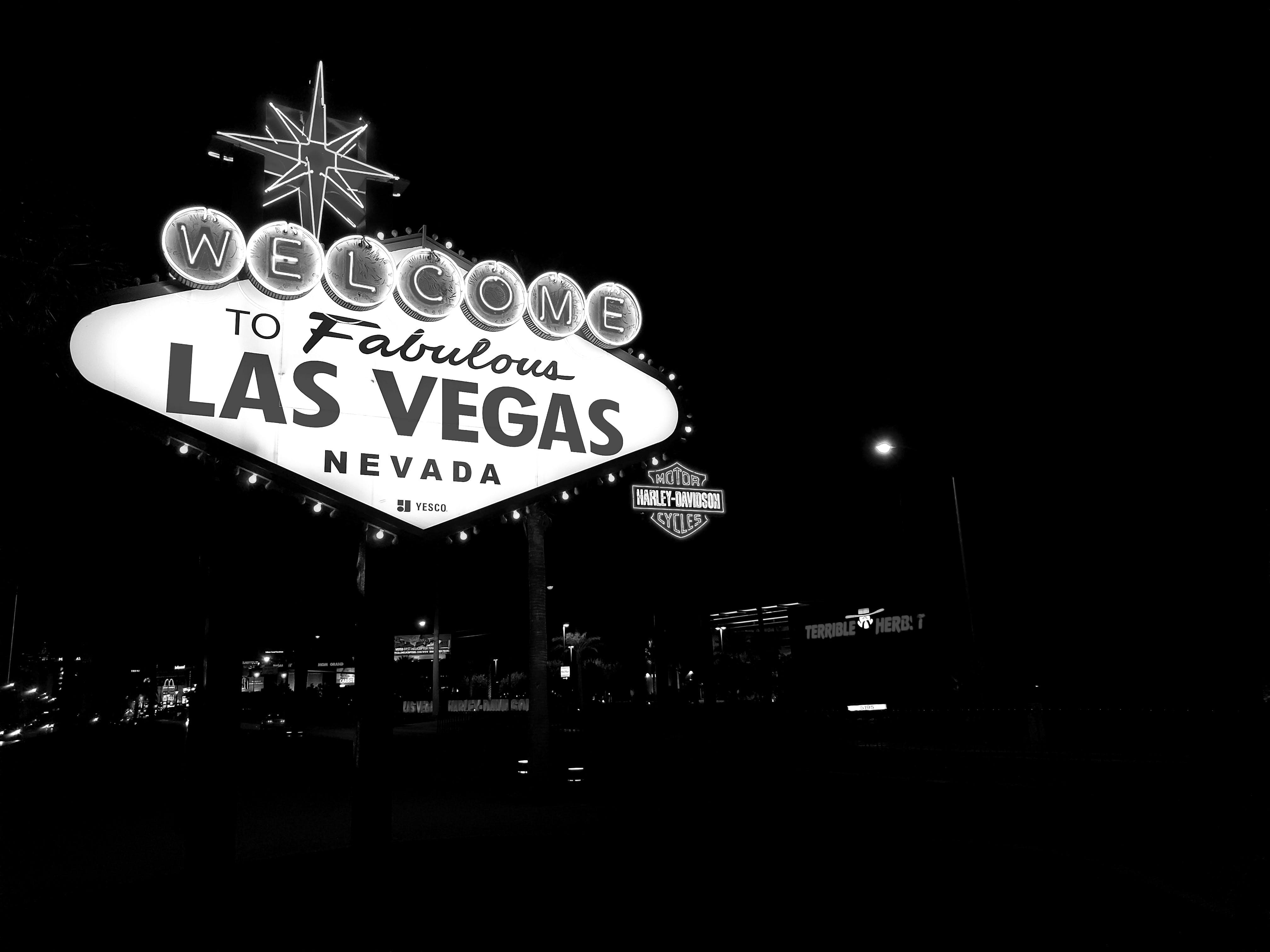 Základová fotografie zdarma na téma černobílá, Las Vegas, neonová světla, světla