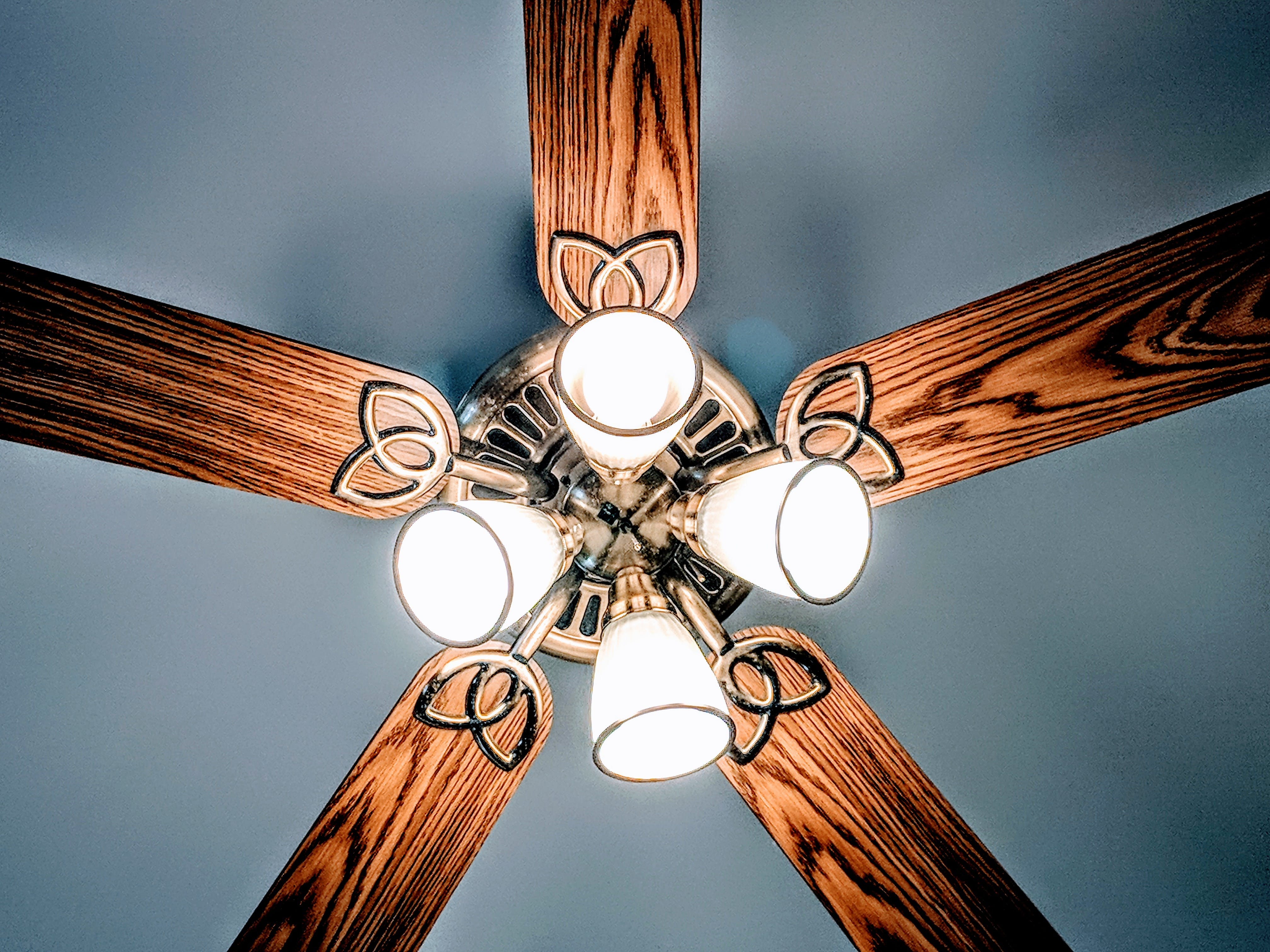 Lit Brown and Gray Lighted Ceiling Fan
