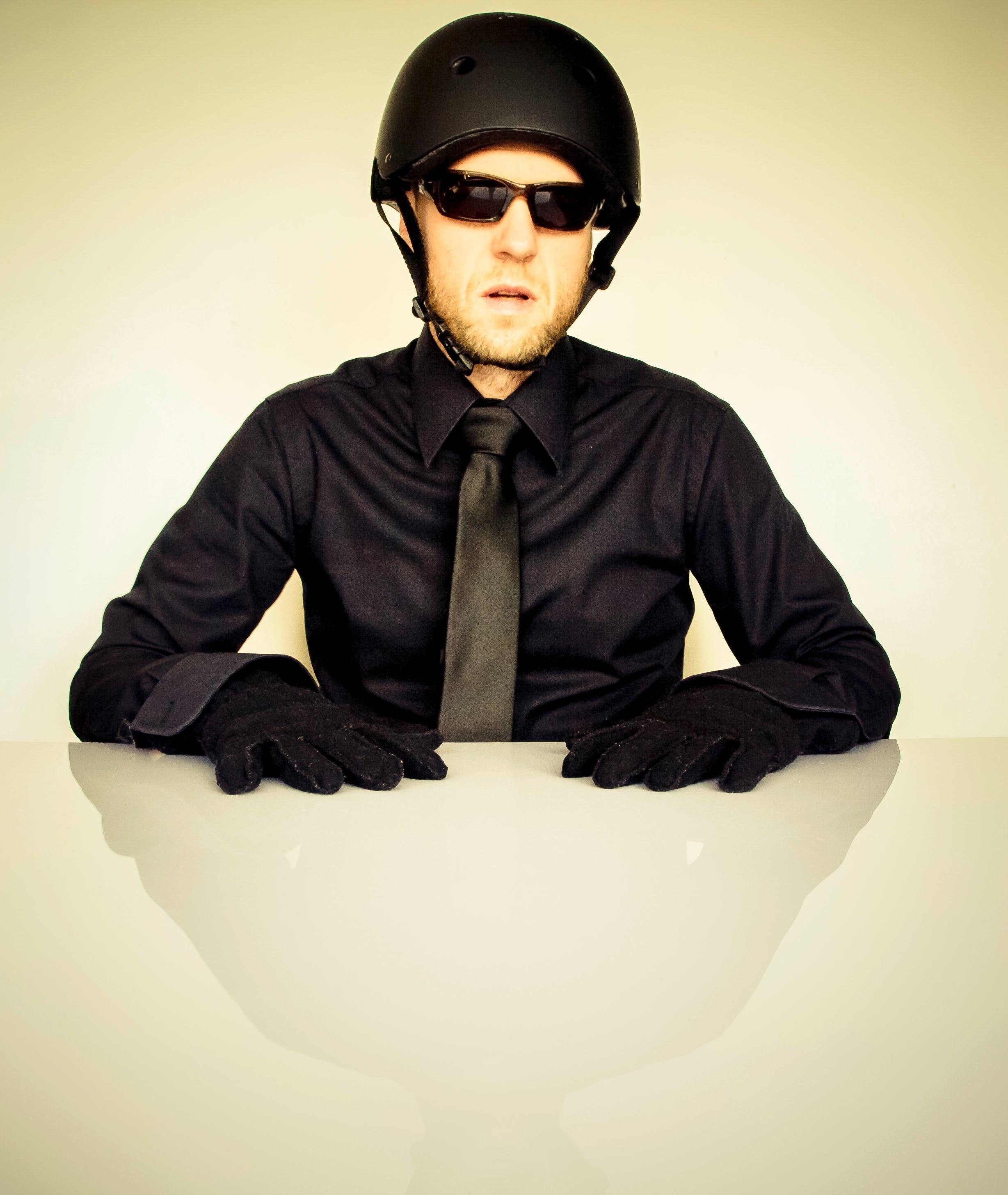 Man in Black Dress Shirt Wearing Half Helmet