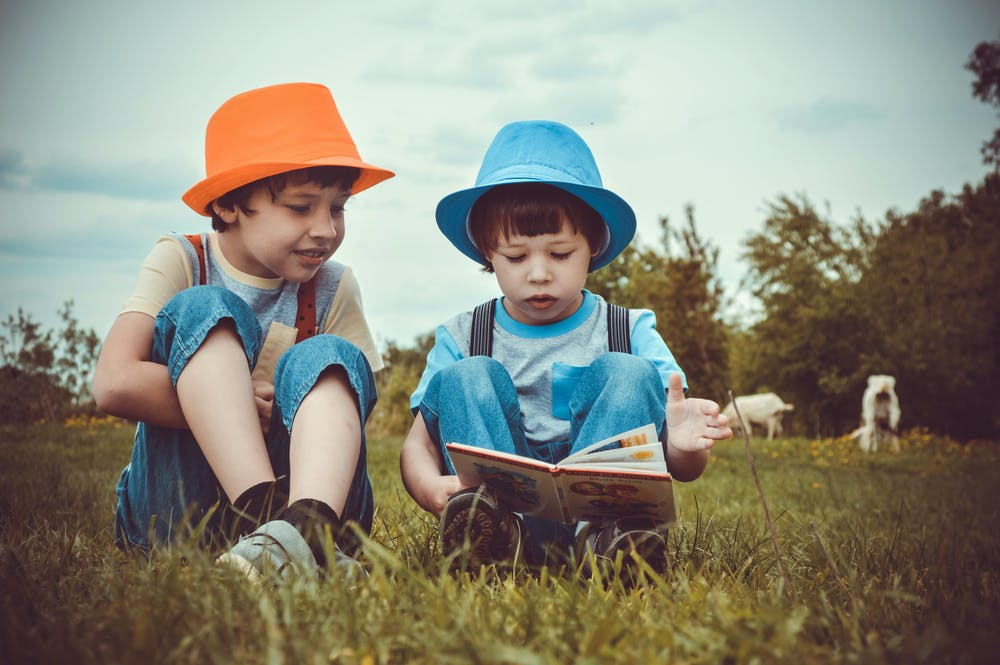 Two little boys sitting on a grass field. | Photo: Pexels