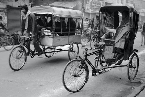 Photos gratuites de bus de vélo, inde, navetteurs, pousse-pousse