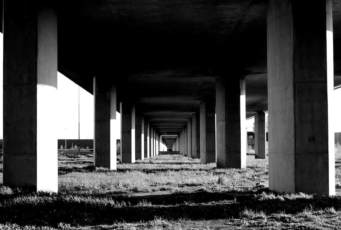Grayscale Photo Under the Bridge Stand