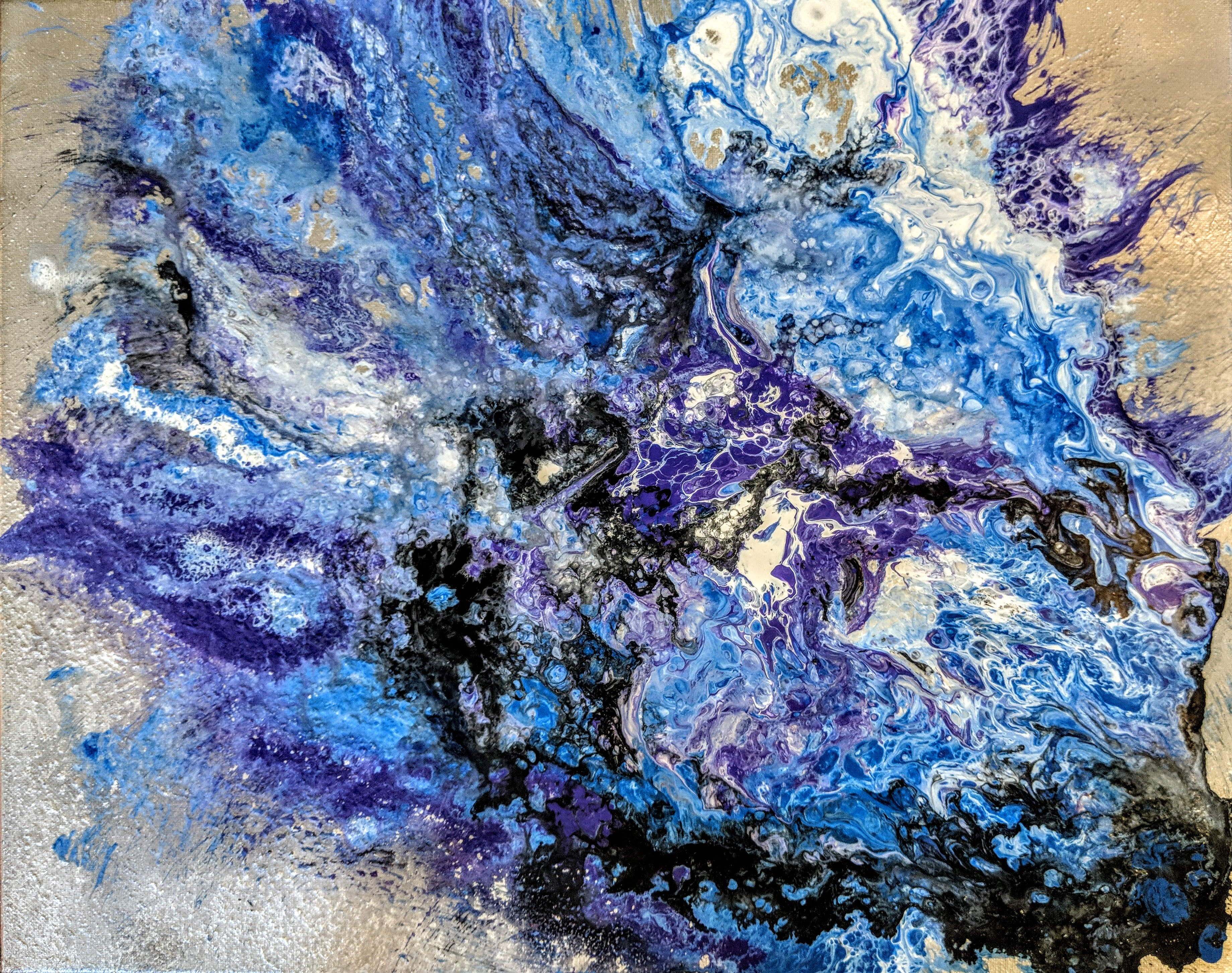Free stock photo of abstract, blue, pour art, purple