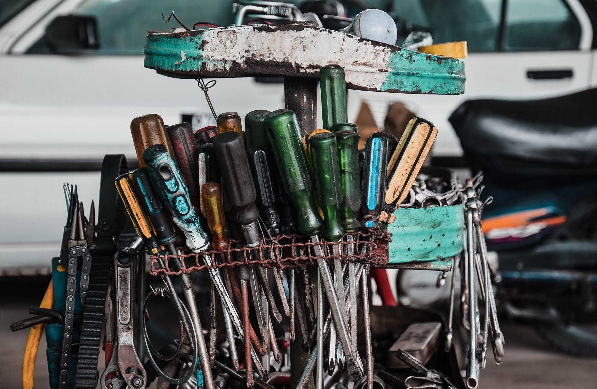 Free stock photo of green, mechanic, spanners, tools