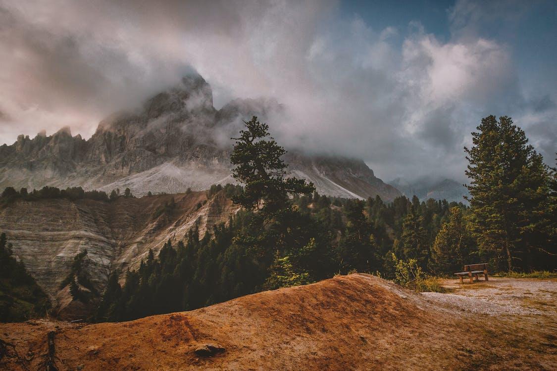 chmury, drzewa, góra