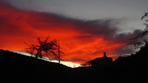 Free stock photo of cottage, farm cottage, karoo, sunset