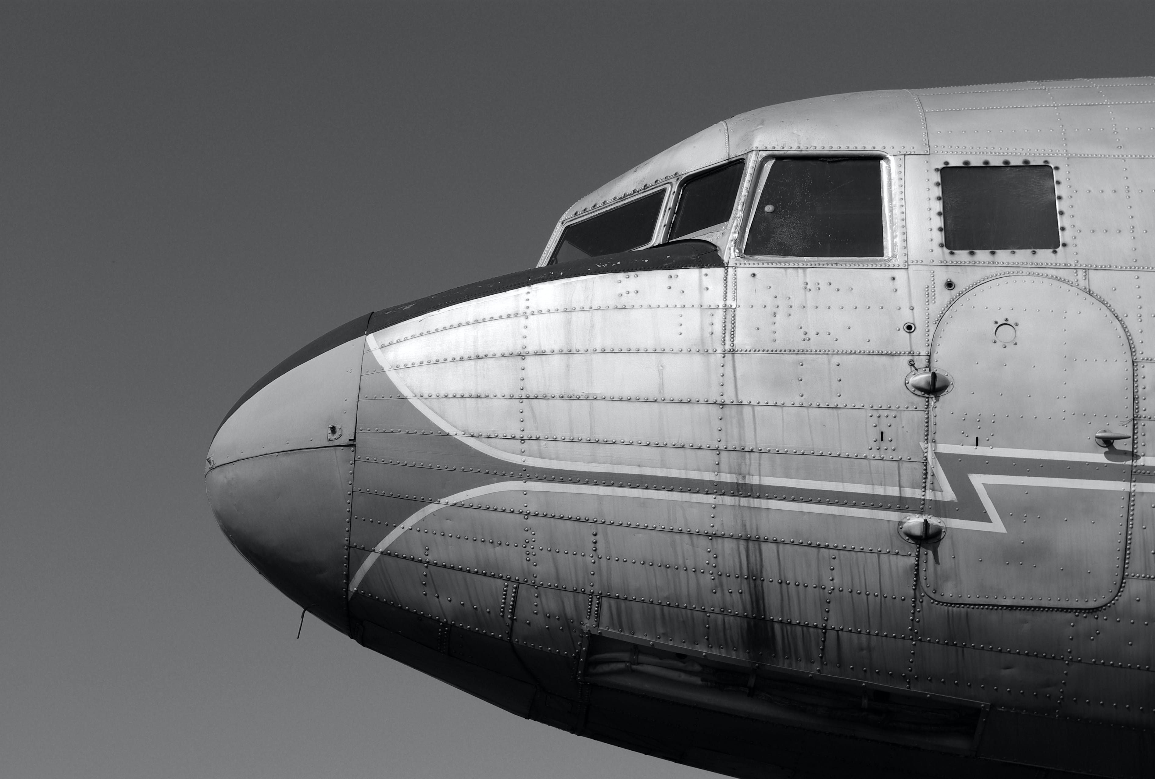 Free stock photo of airplane, black and white, Malev, vintage