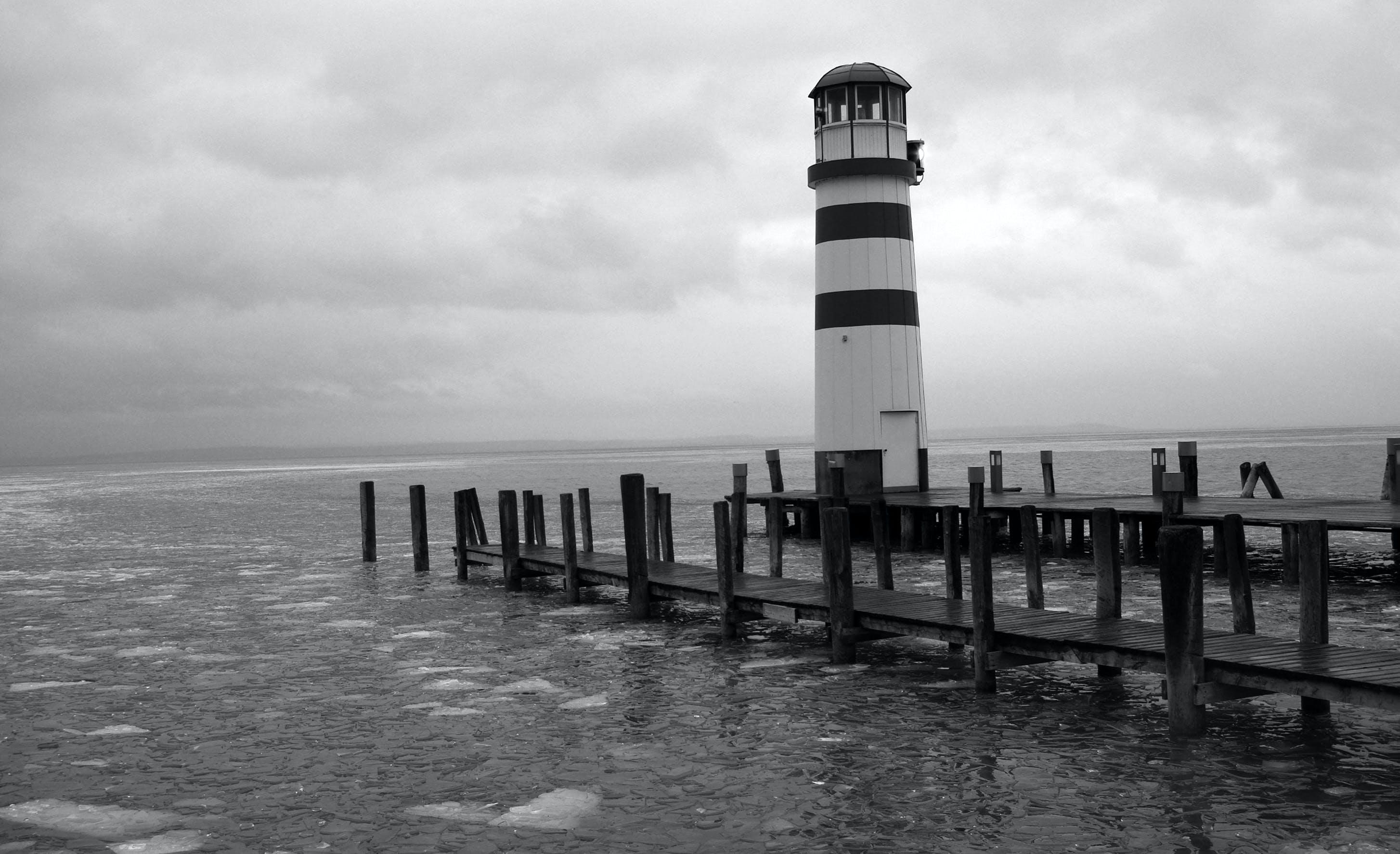 Free stock photo of balaton, black and white, frozen lake, port