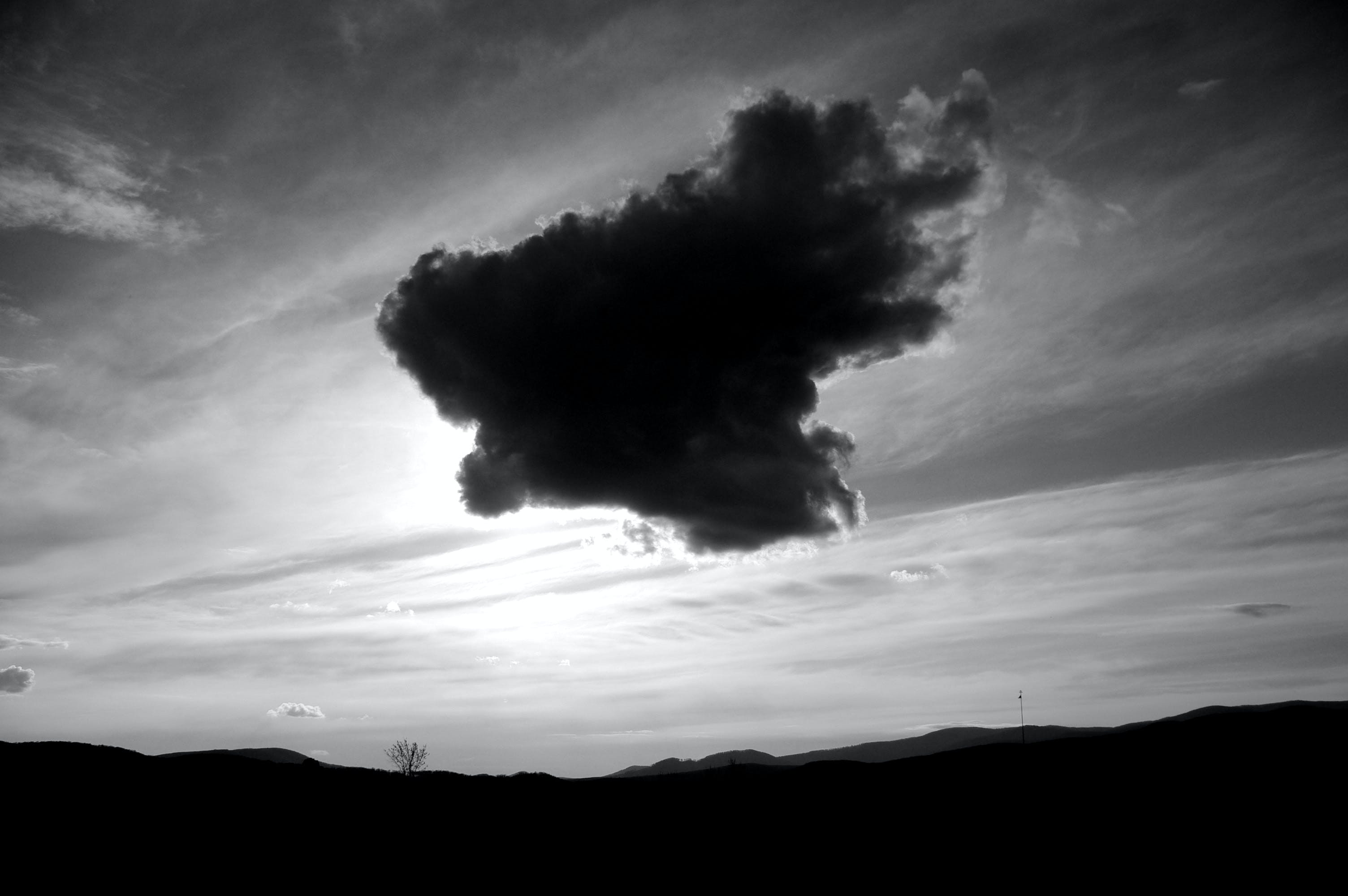 Free stock photo of black and white, dark clouds, landscape