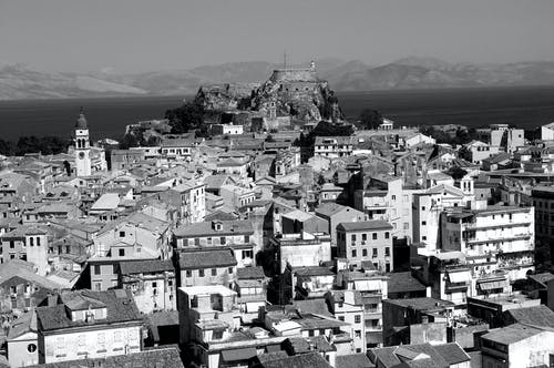 Free stock photo of black and white, corfu, old city, vintage