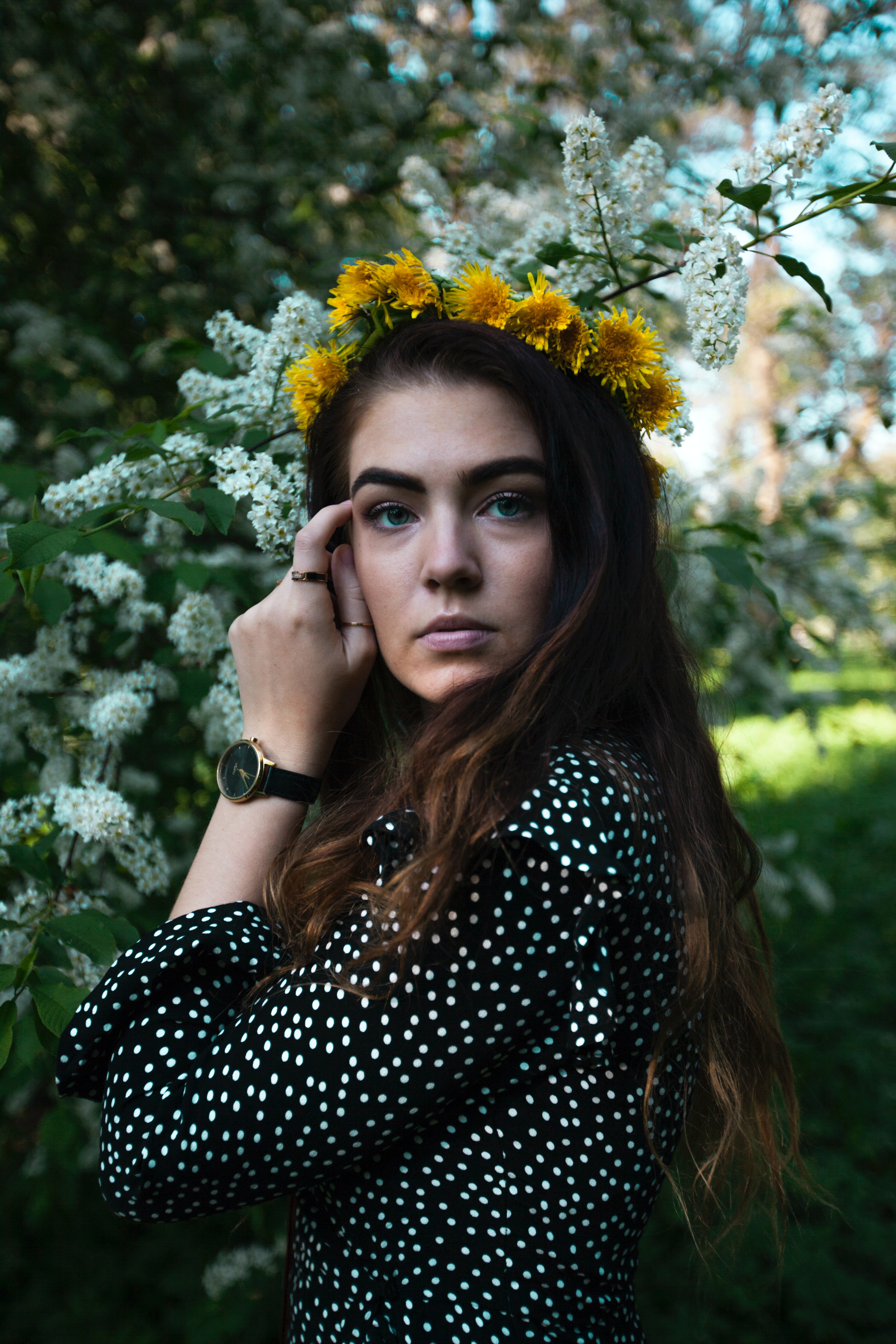 Photography Of Wearing Flower Crown Free Stock Photo