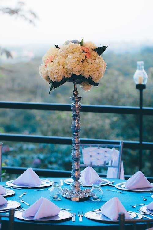 Darmowe zdjęcie z galerii z fantazyjny, kwiaty, nakrycie stołu, obrus