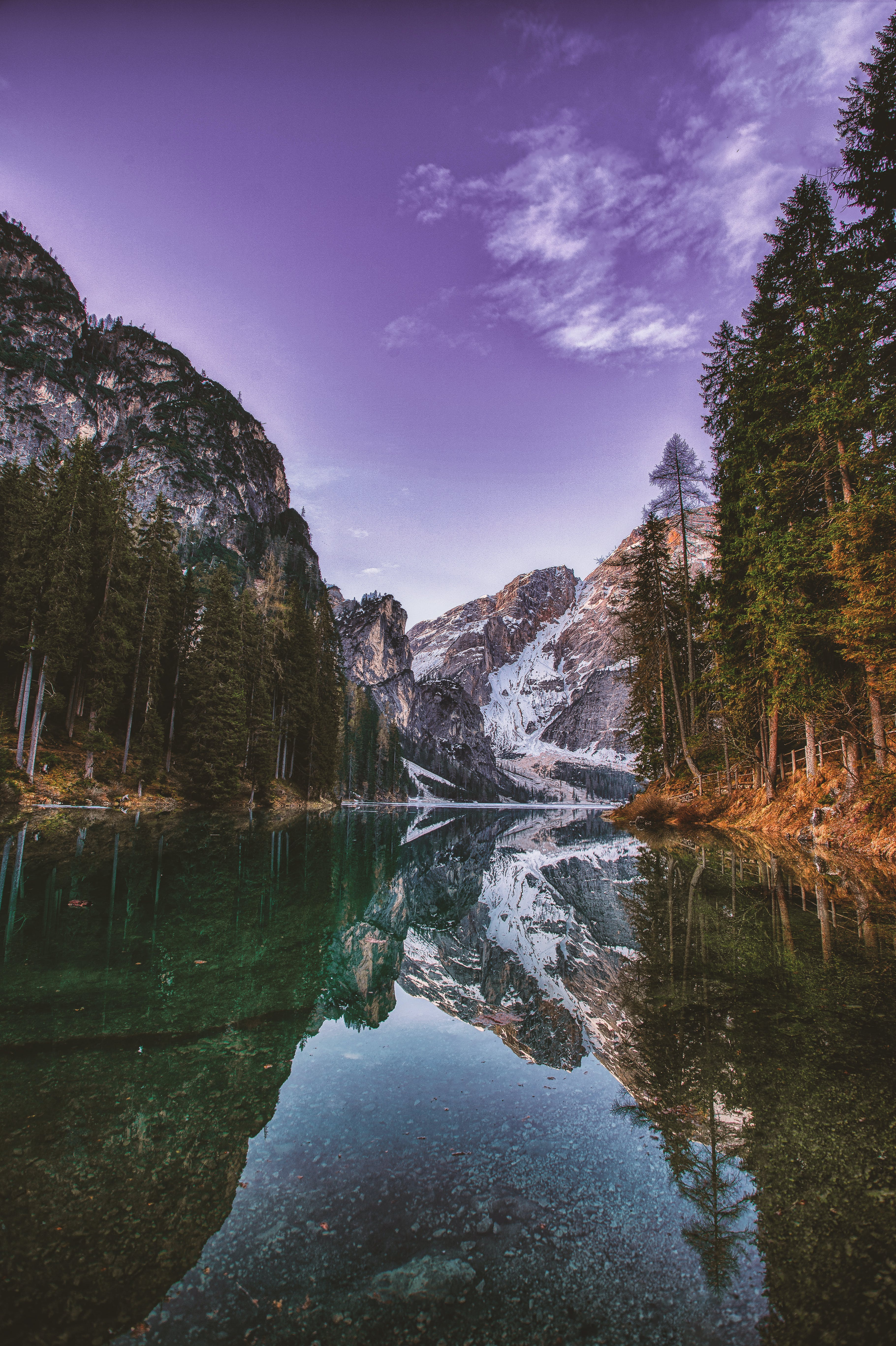 Mountain And Trees Reflection
