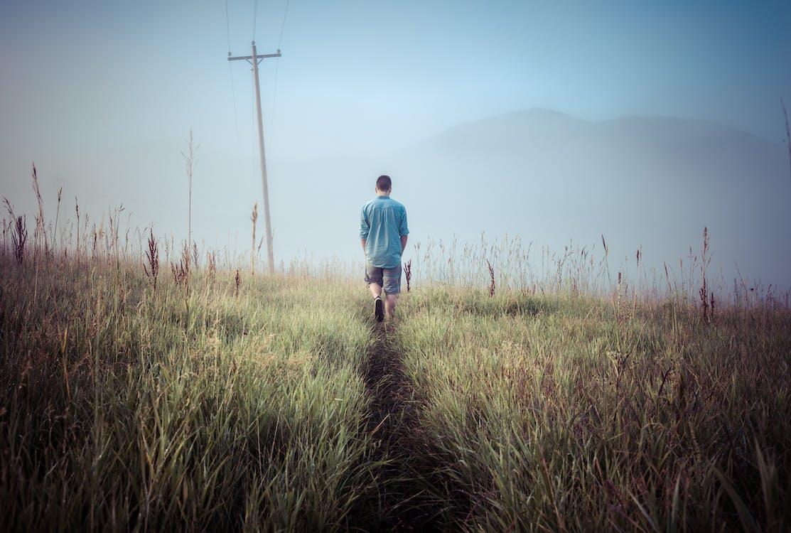 Boy Walking Near Green Grass