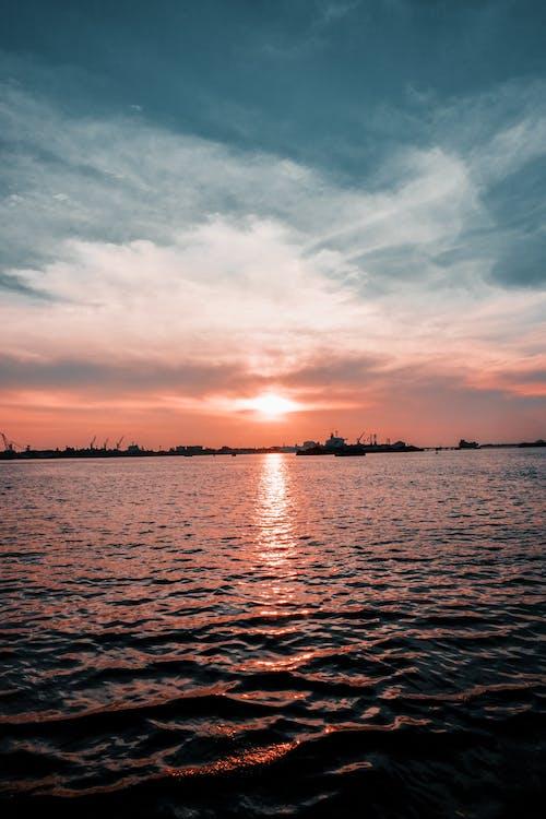 คลังภาพถ่ายฟรี ของ การสะท้อน, ขอบฟ้า, ชั่วโมงทอง, ดวงอาทิตย์