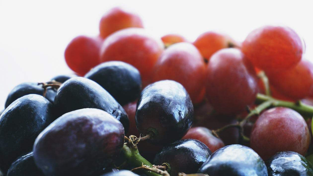 Red Grapes in Closeup Photography