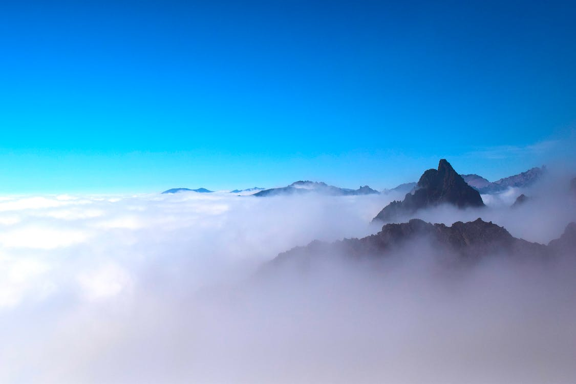 bergen, bergstopp, dagsljus