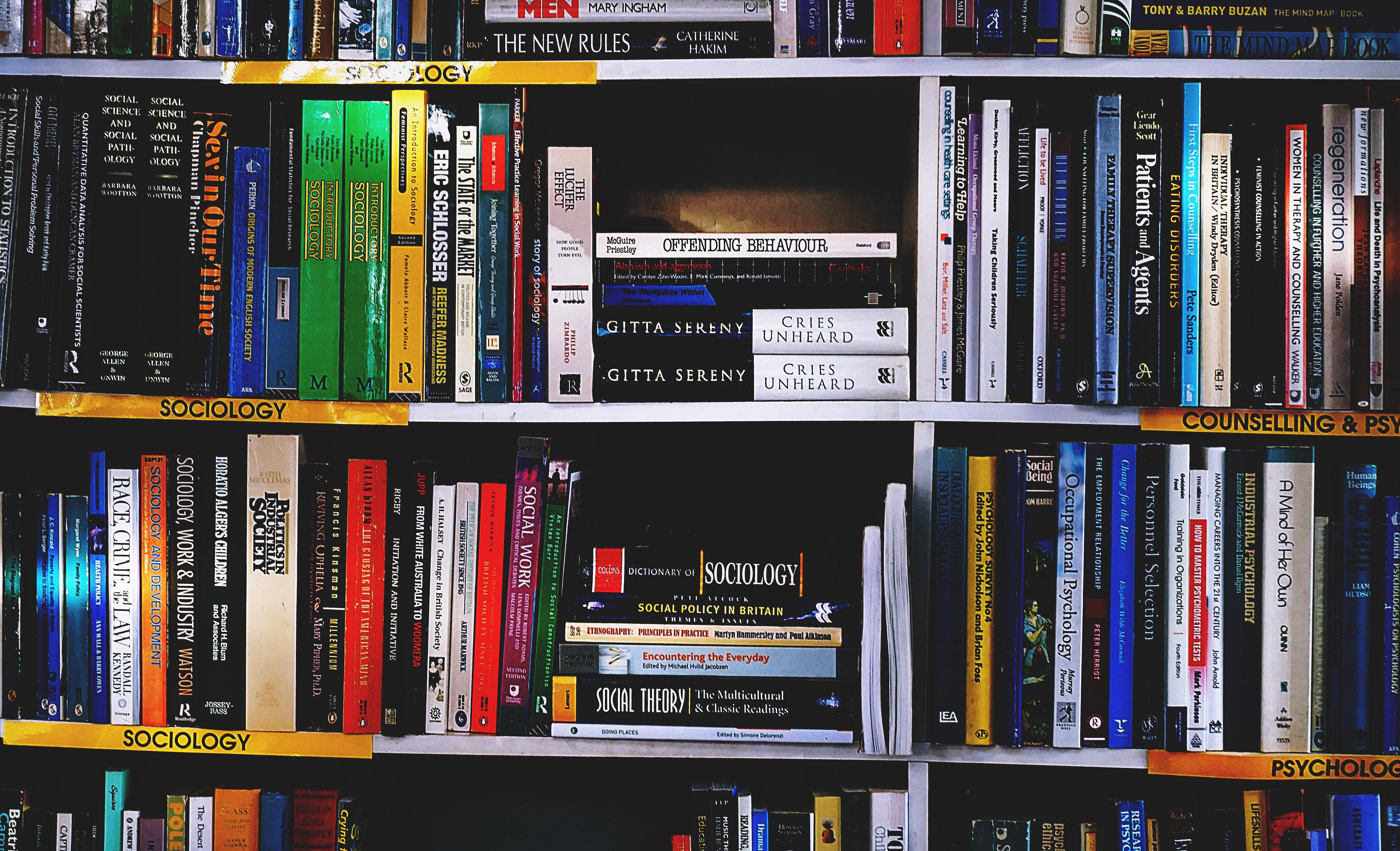 Photography Of Books On Bookshelf Free Stock Photo