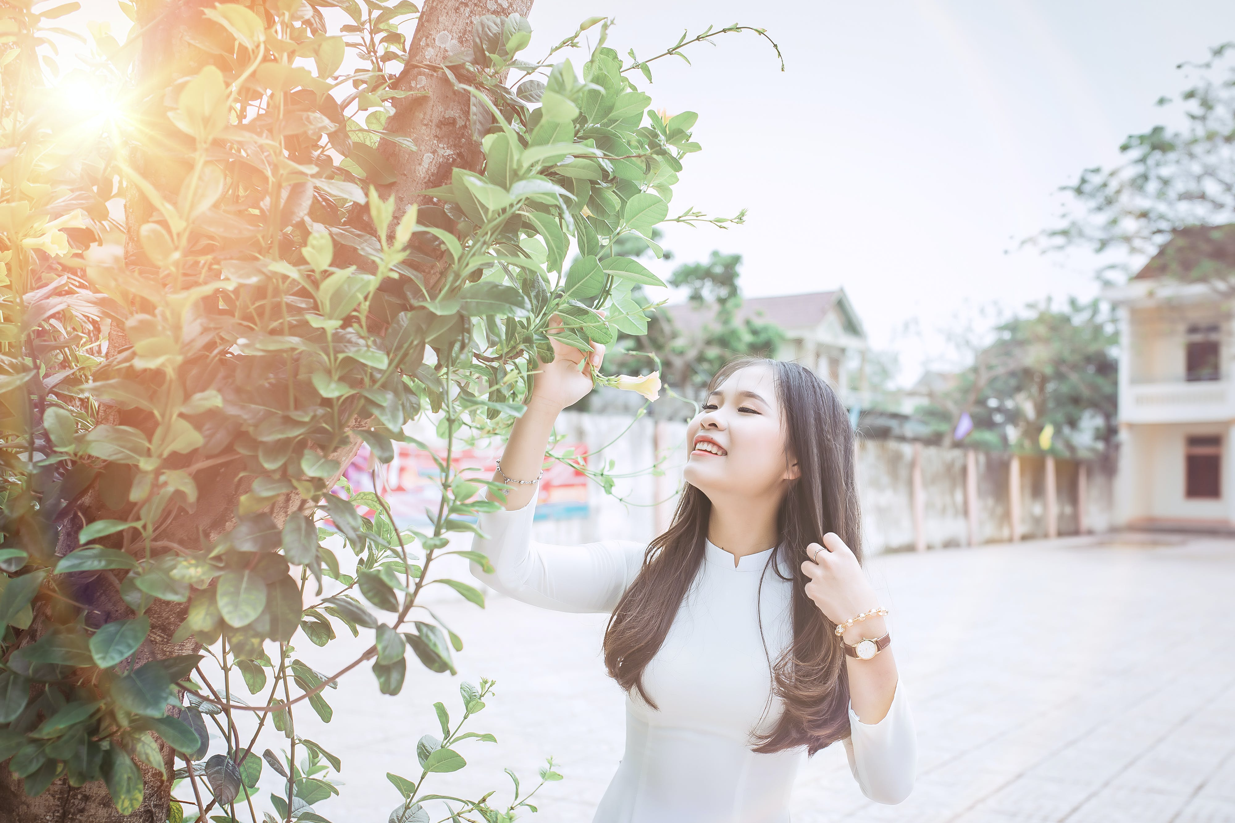 Photography of a Woman Near Tree