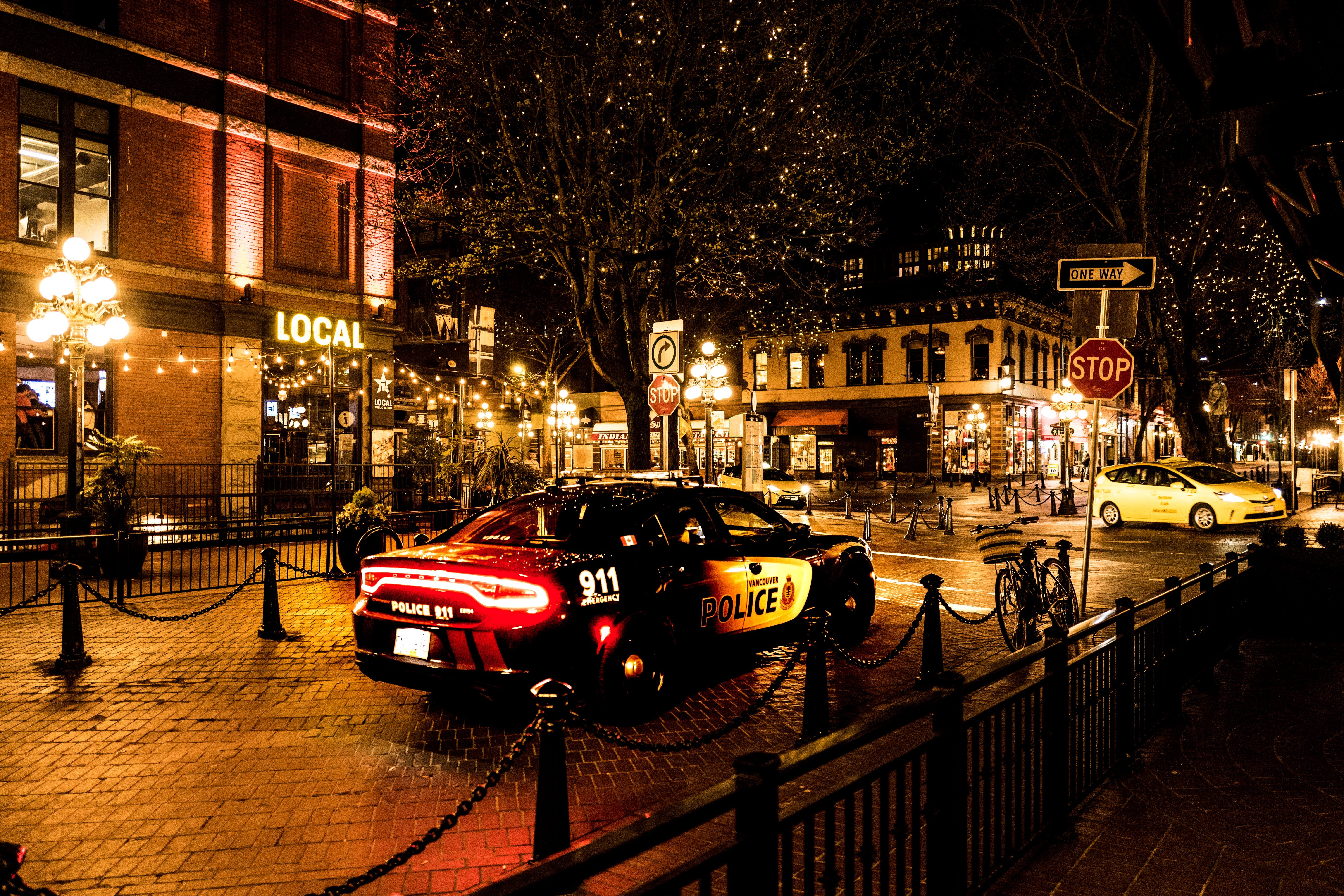 Photography of Police Car During Night Time