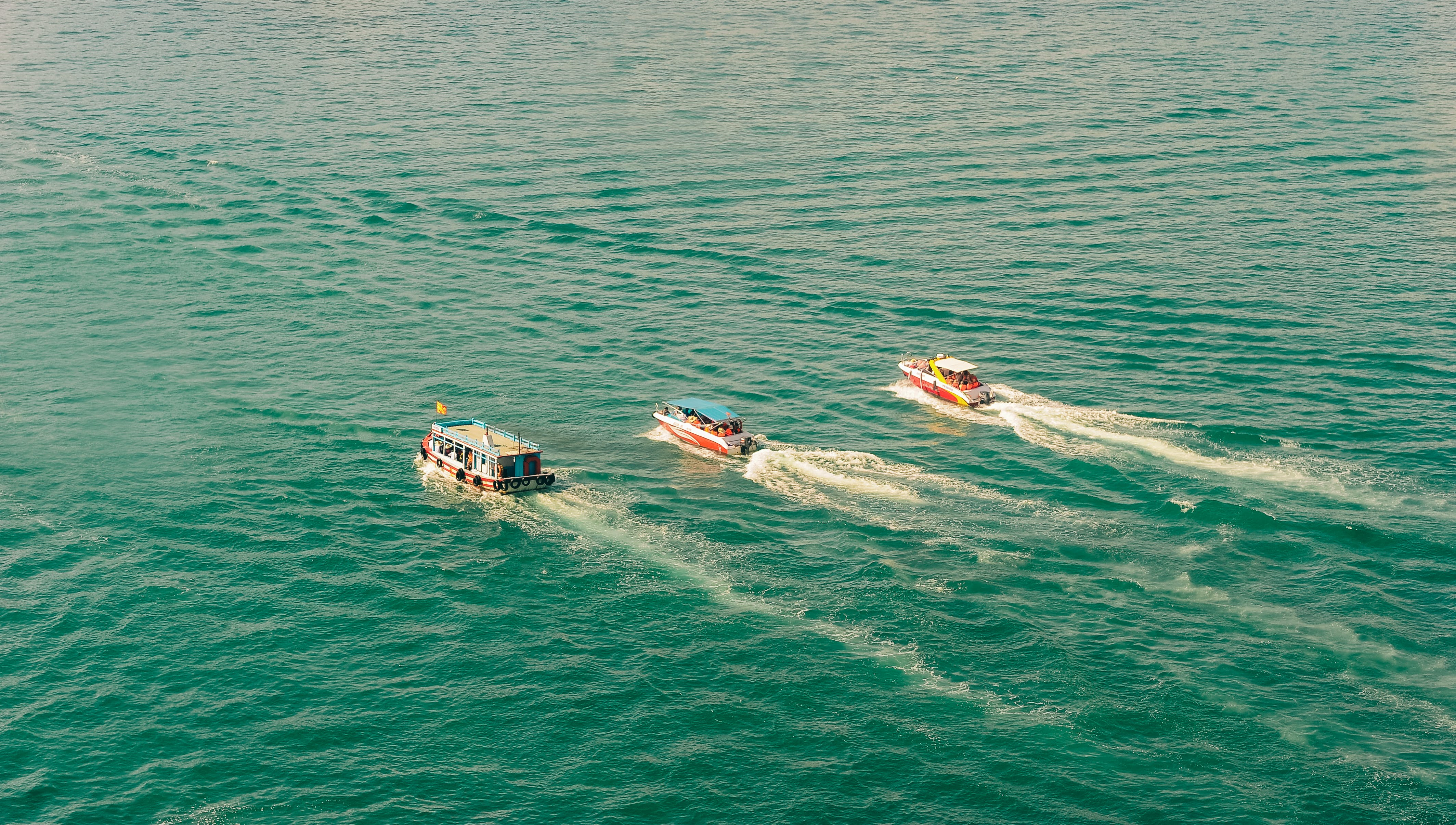 Three Speedboats Aerial Photography