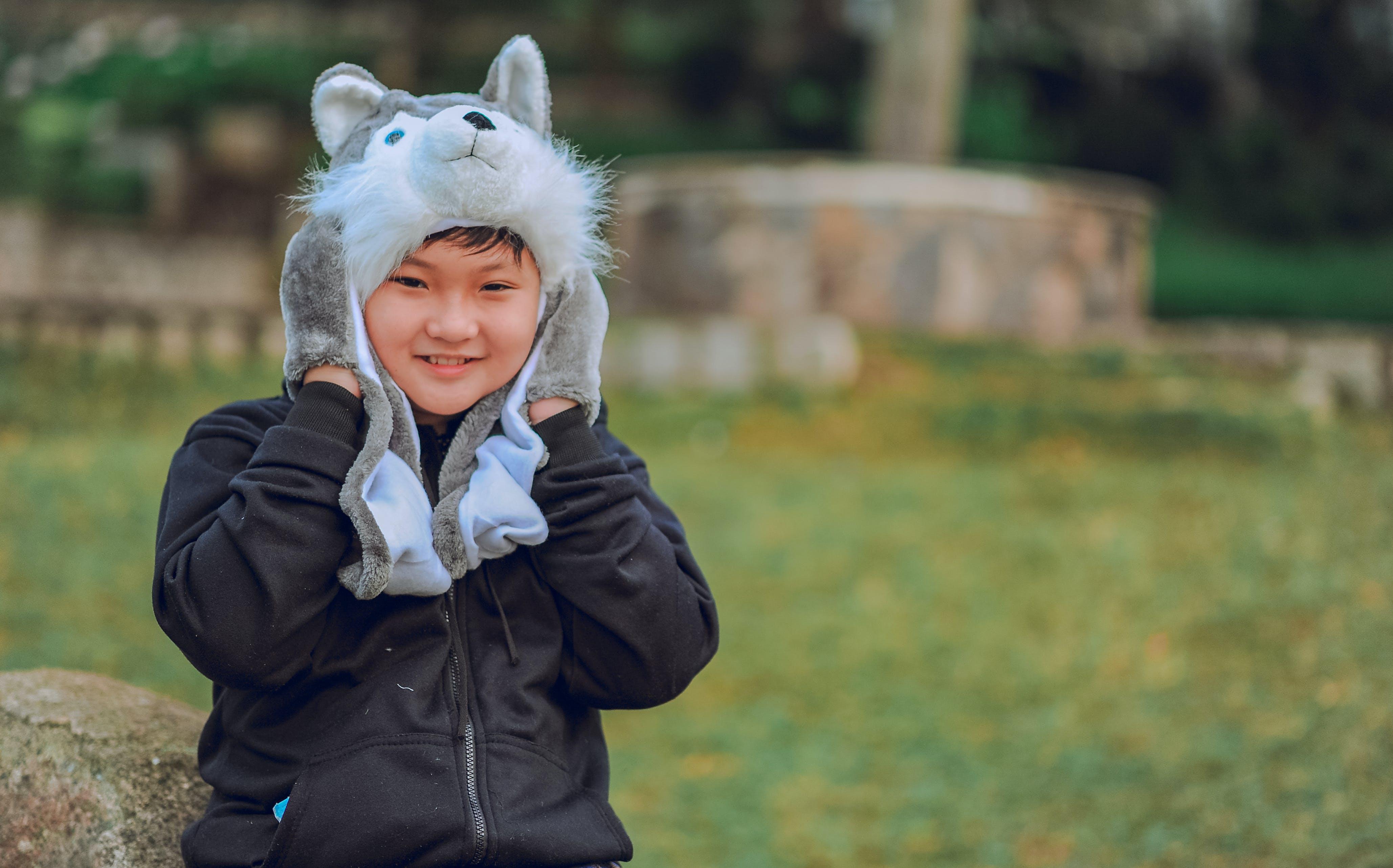 Toddler's Wearing Wolf Headgear