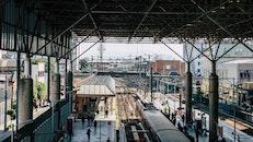 people, train, railroads