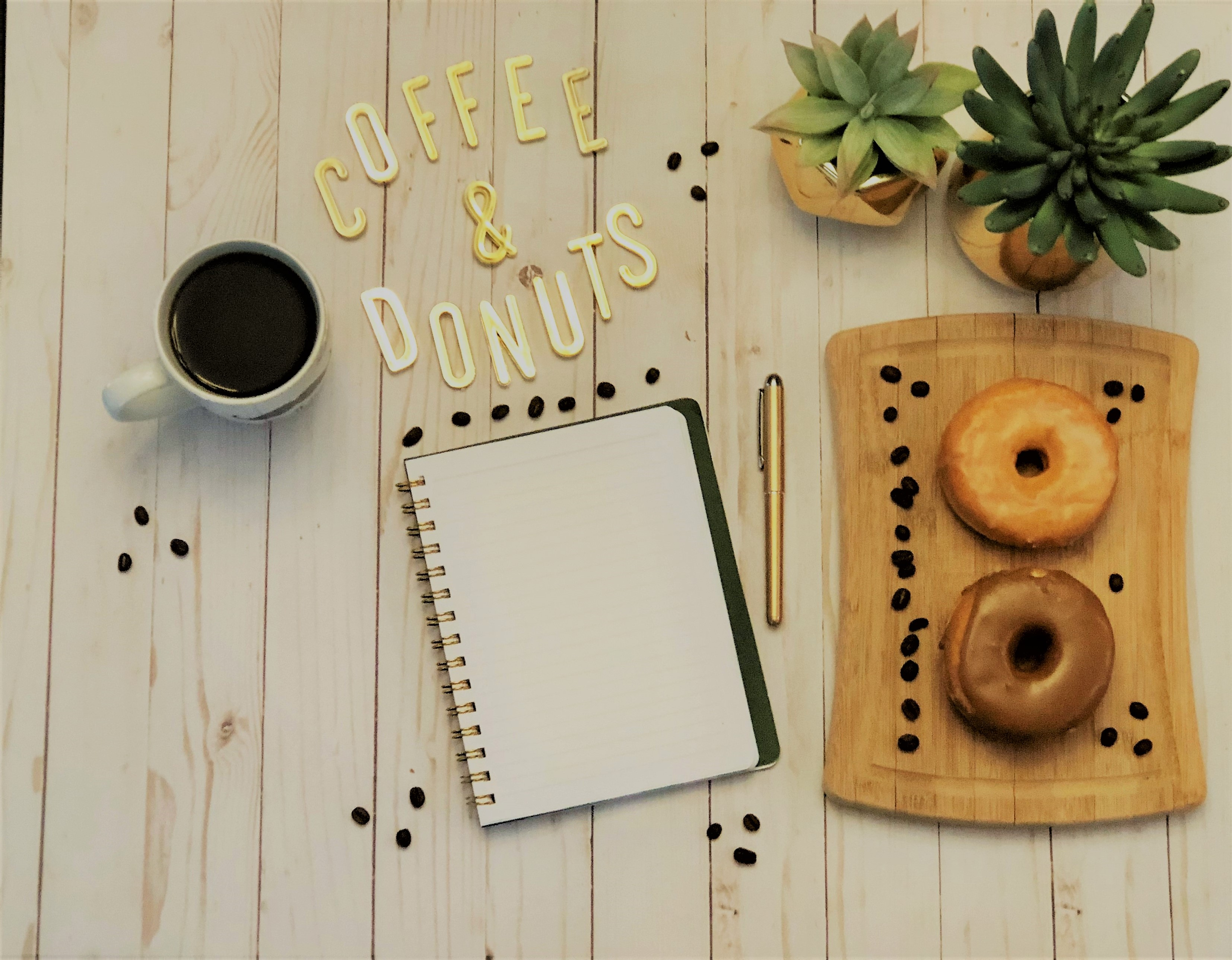 Spiral Notebook Beside Pen and Plants
