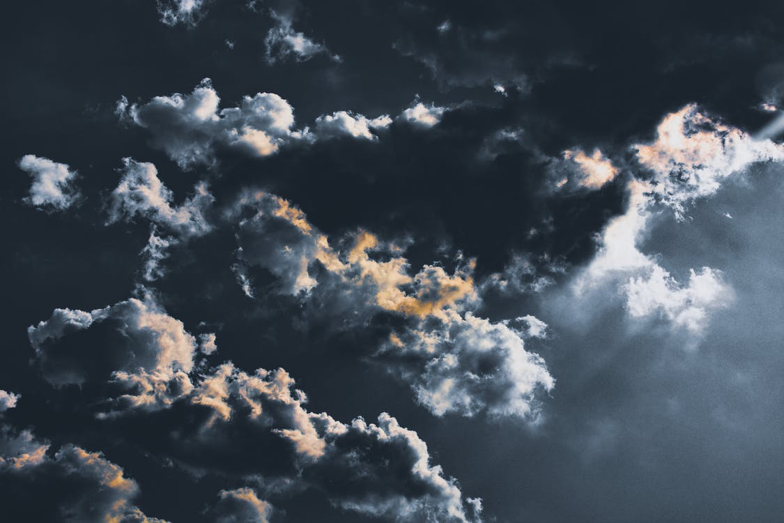 dramatická obloha, dramatický, mraky