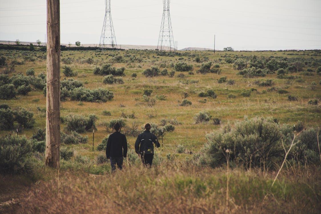 Two Men Walking on Grassy Field