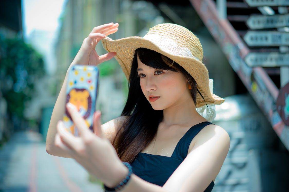 actitud, asiática, autofoto