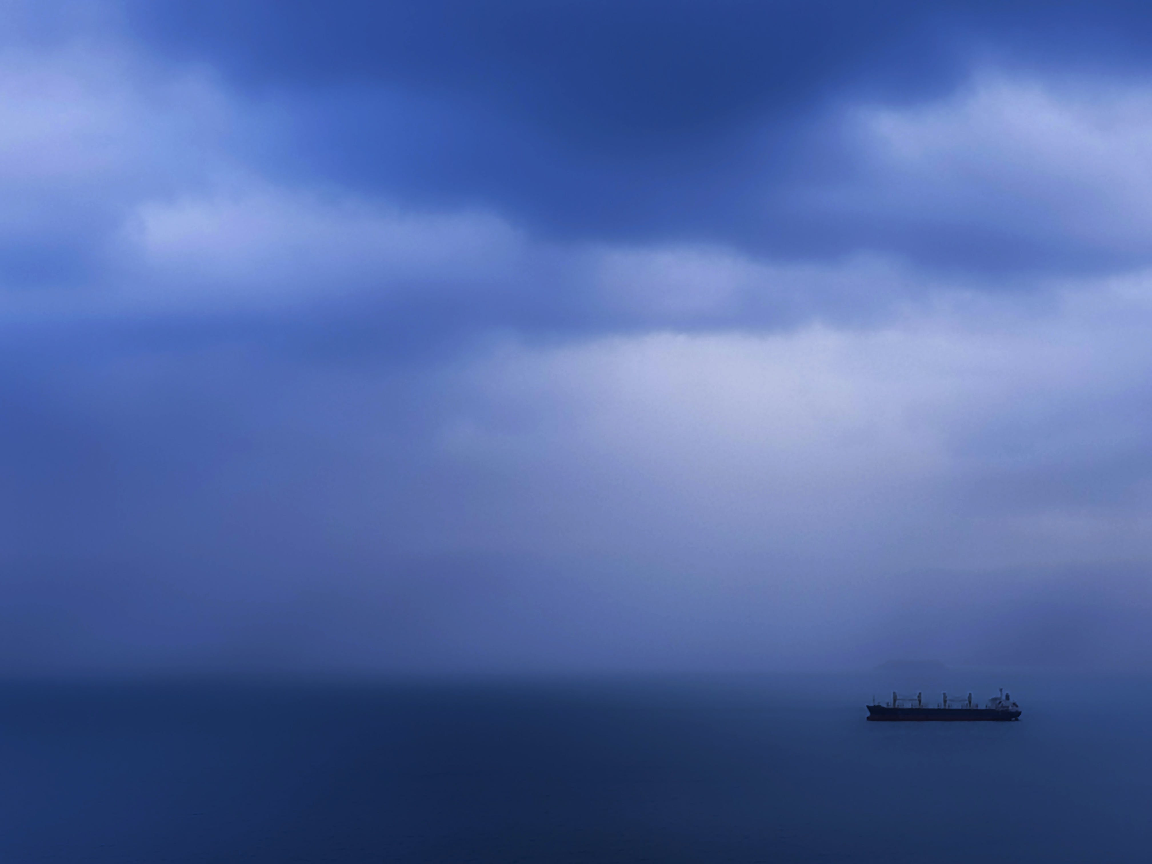 Free stock photo of blue, boat, clouds, container ship