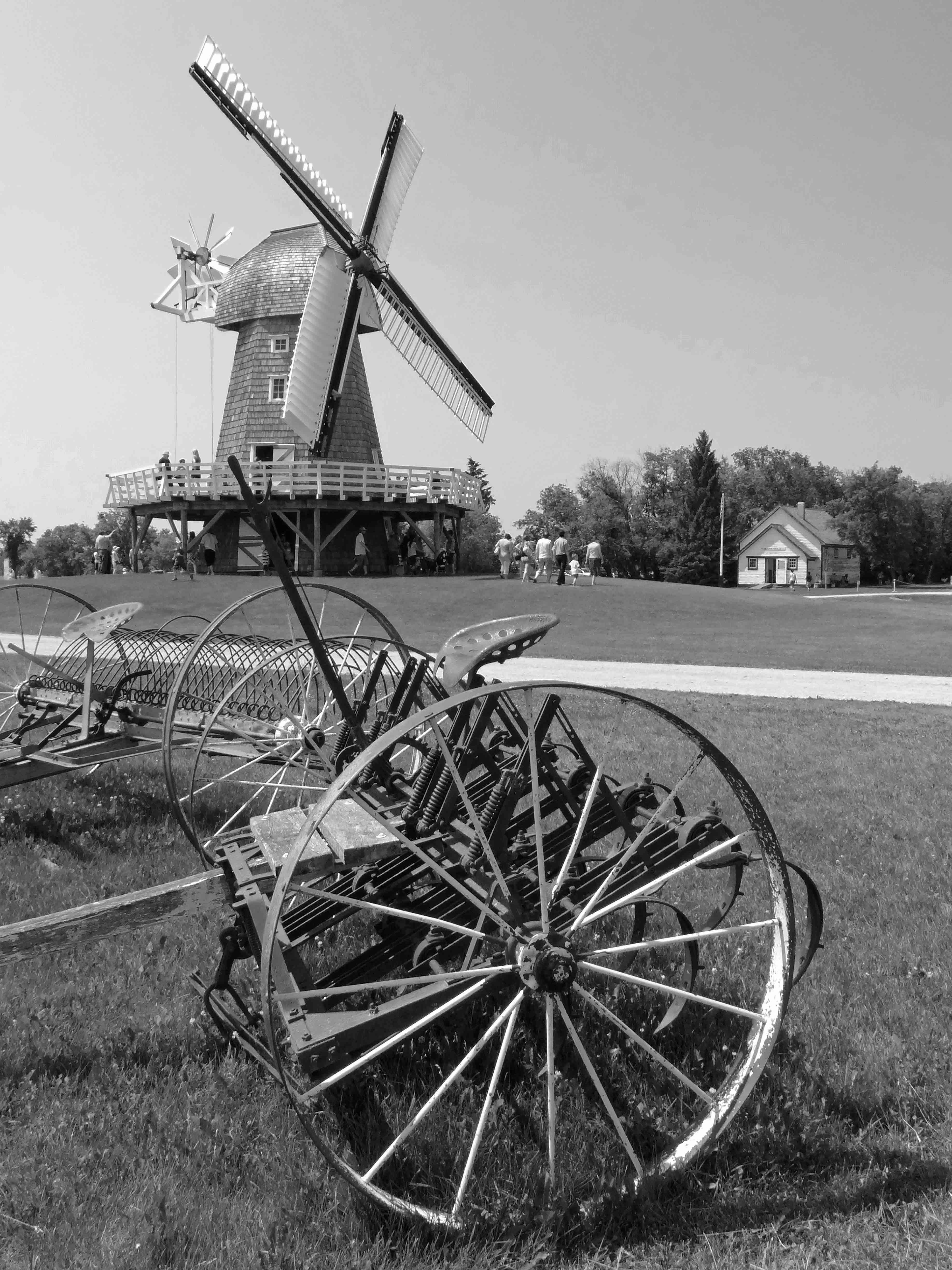 Free stock photo of black and white, windmill