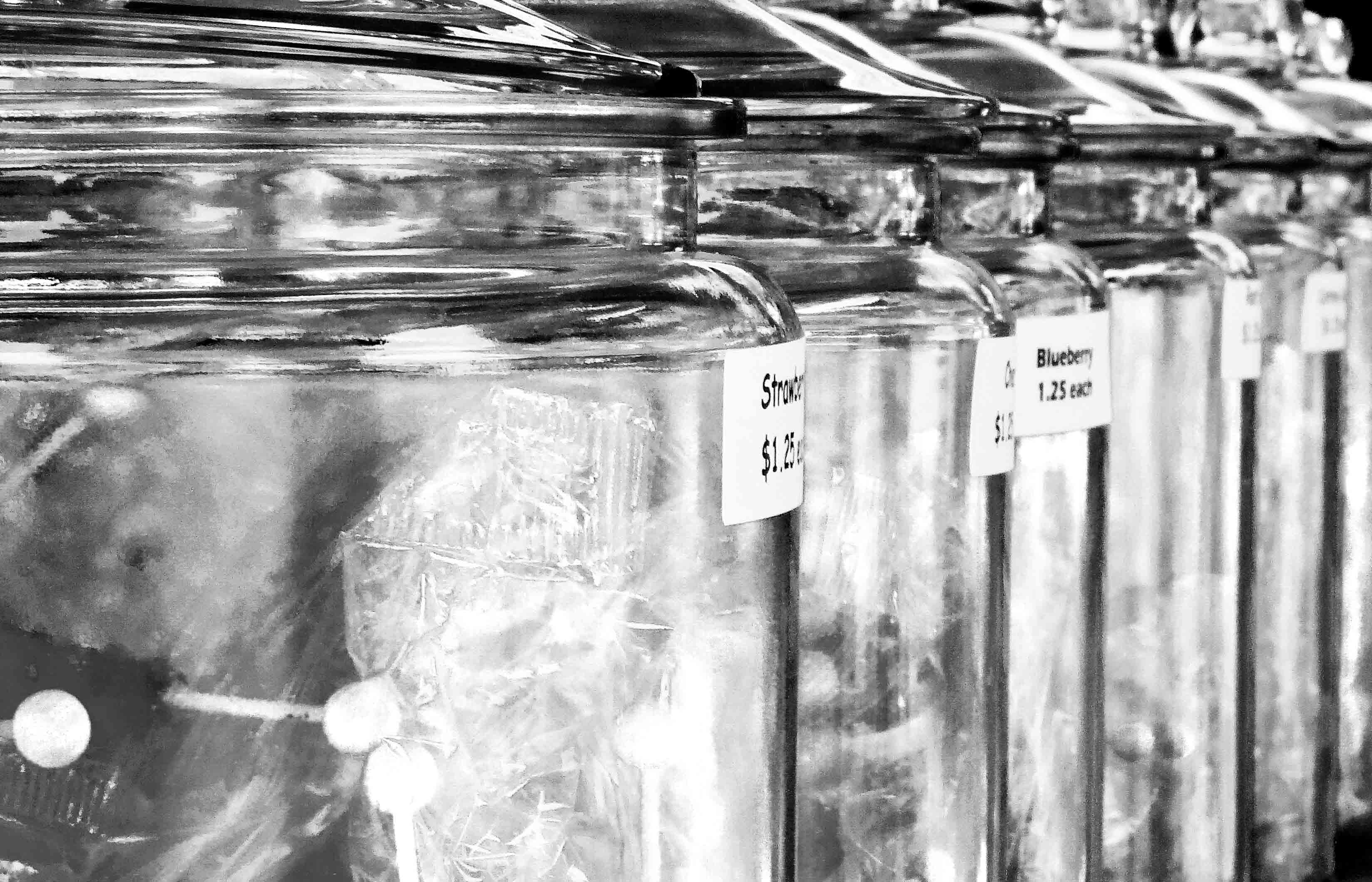 Free stock photo of black and white, candy, jars