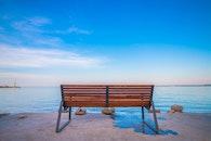 bench, sea, sky