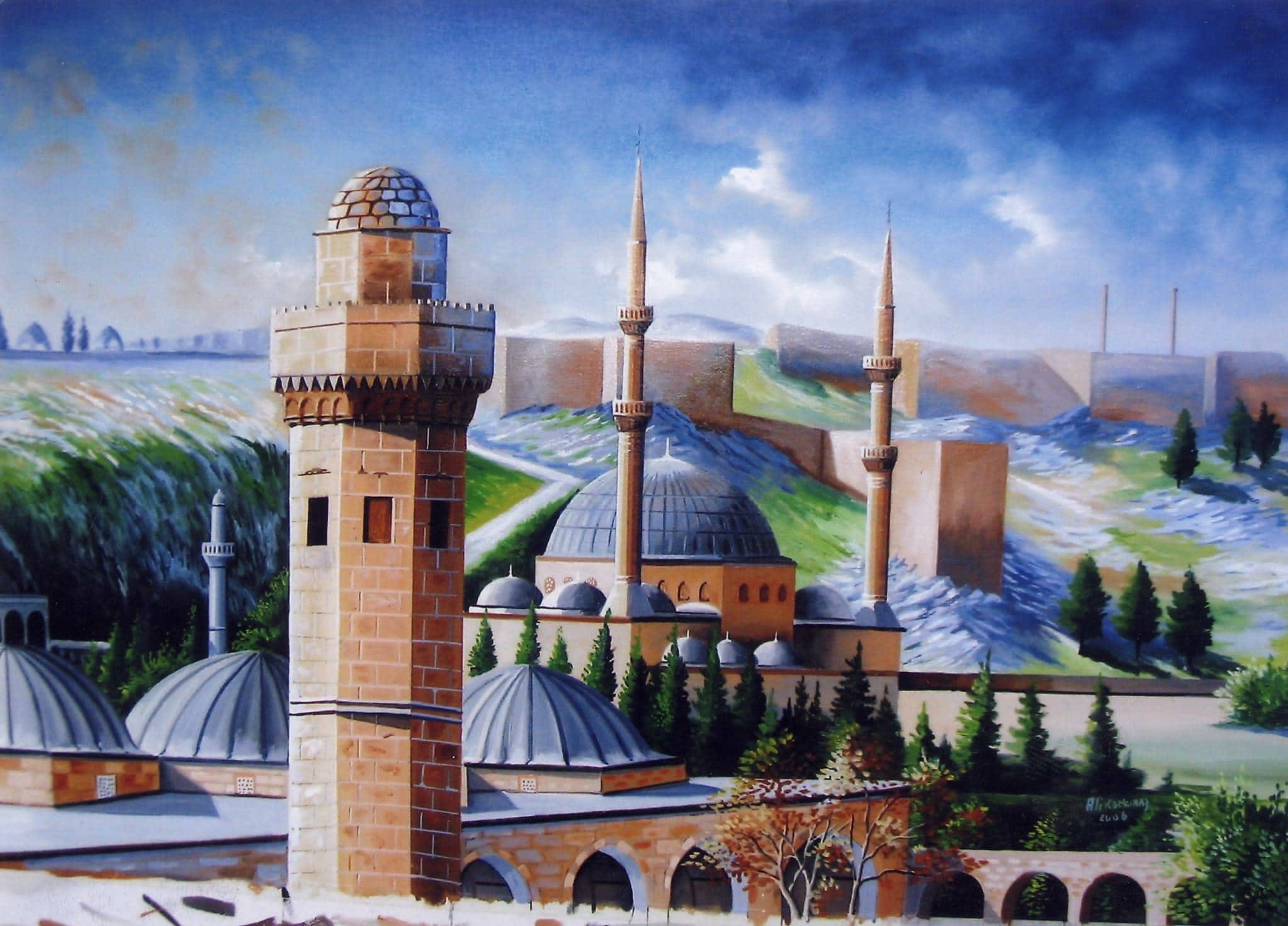 Free stock photo of Şanlıurfa, Balıklıgöl, Dergah, watercolor painting