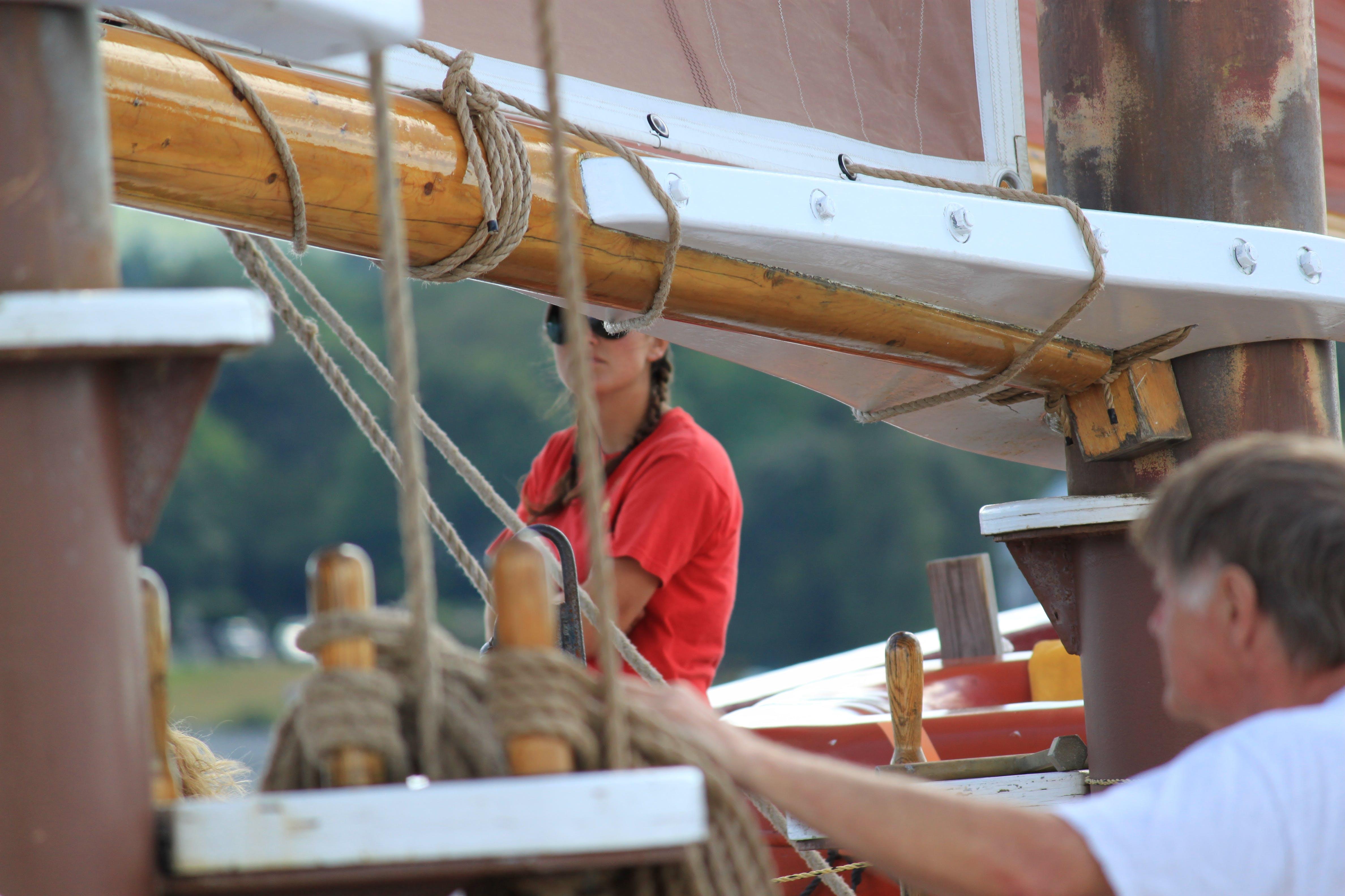 Free stock photo of boat, girl, sail