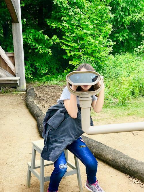 Free stock photo of binoculars, girl