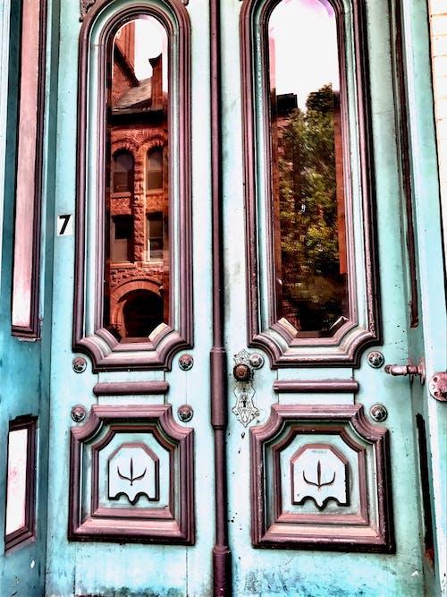 Free stock photo of blue, doors, reflection