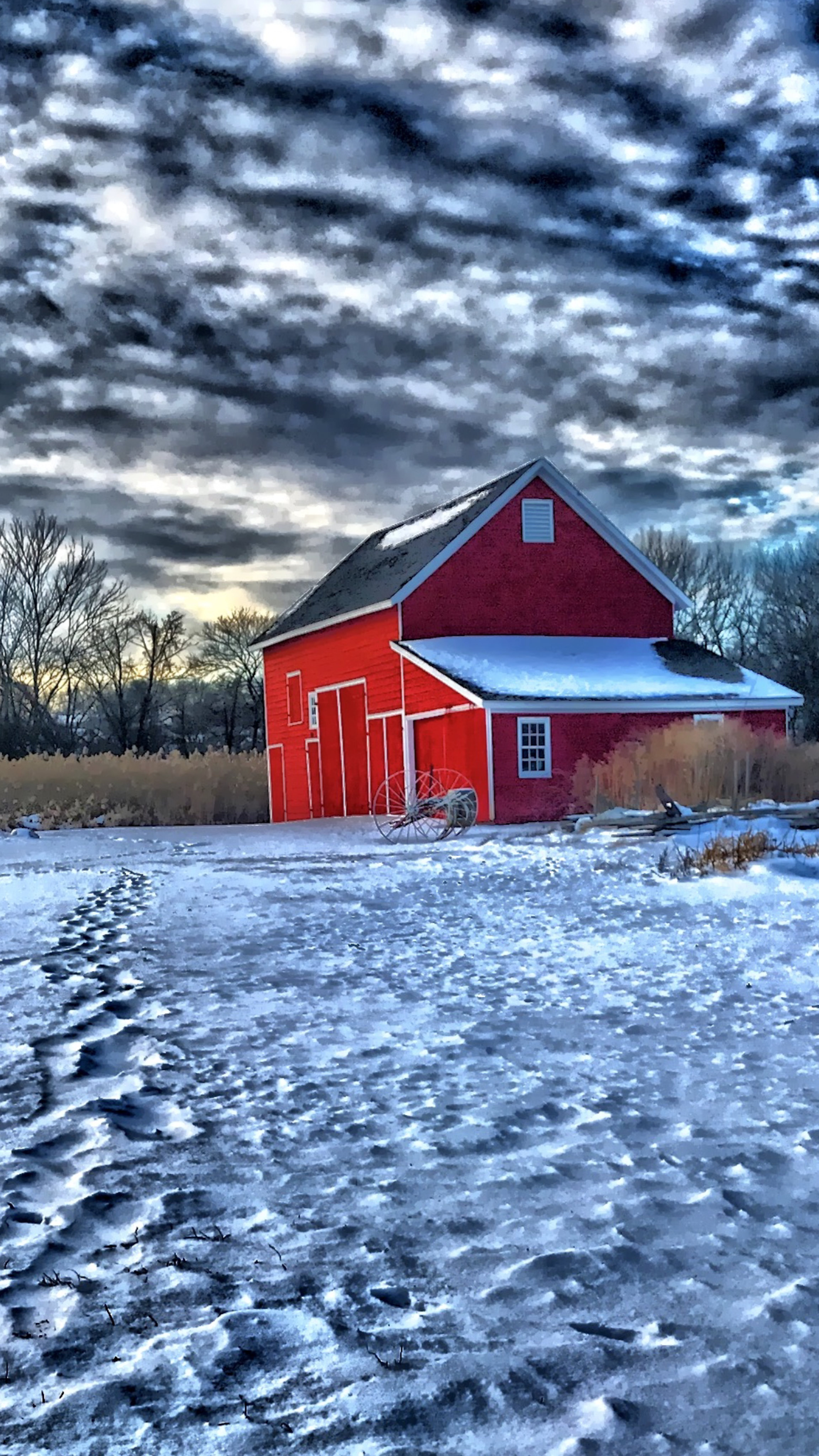 Free stock photo of barn, red, snow, winter