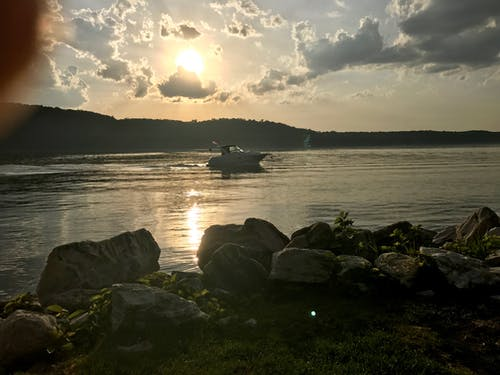 Free stock photo of boat, sunset
