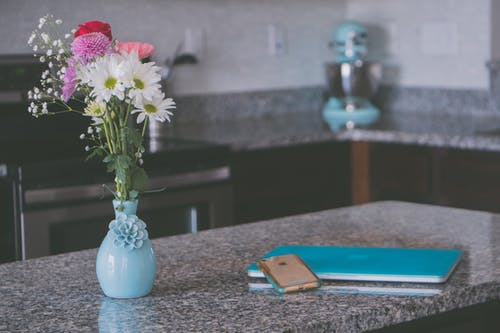 Flowers On Top Of Kitchen Counter