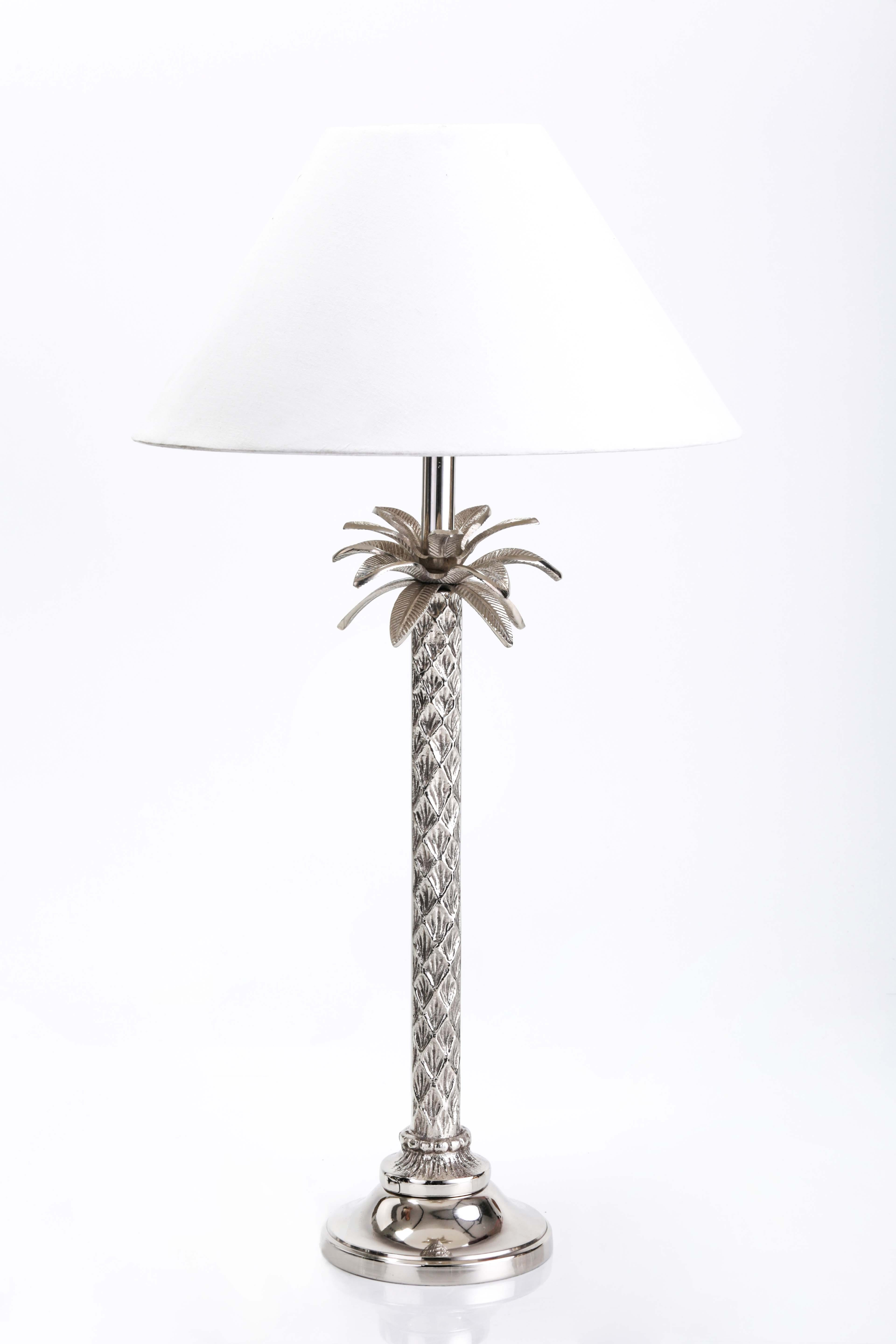 Gray Metal Table Lamp With White Cone Lampshade