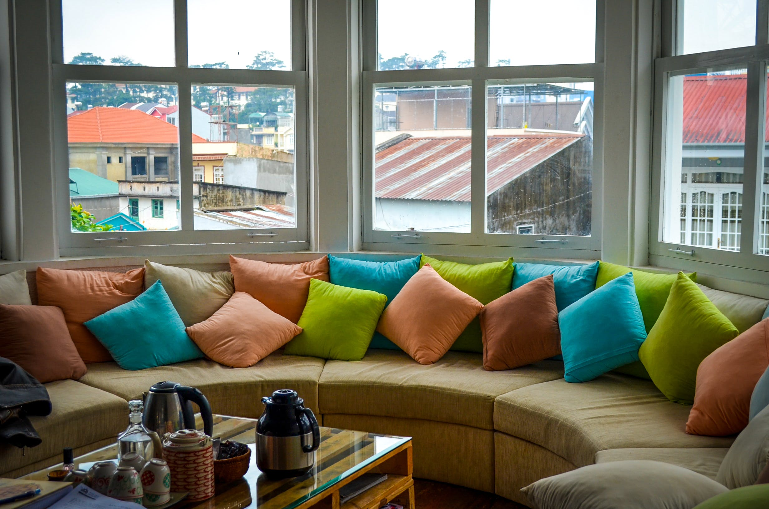 colorful, pillows, windows