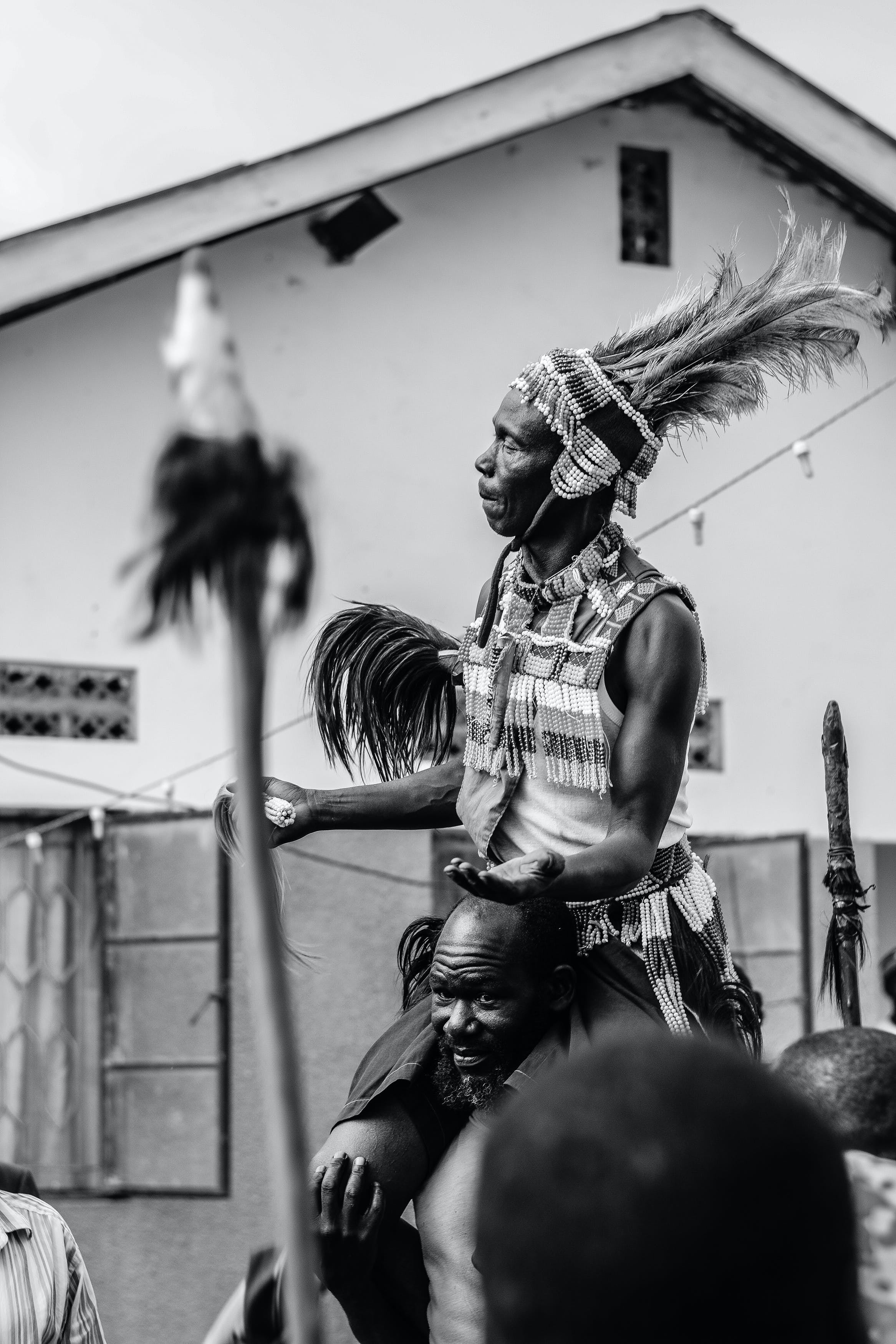 Man Wearing Warbonnet Performing