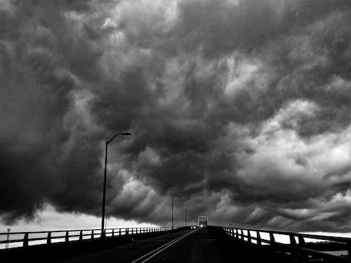 Free stock photo of black and white, bridge, clouds
